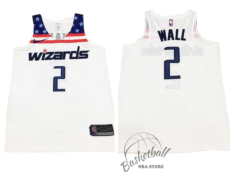 Choisir Maillot NBA Nike Washington Wizards NO.2 John Wall Tout Blanc