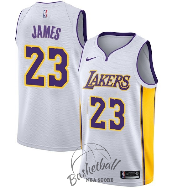 Choisir Maillot NBA Enfant Los Angeles Lakers NO.23 LeBron James Blanc Association 2017-18