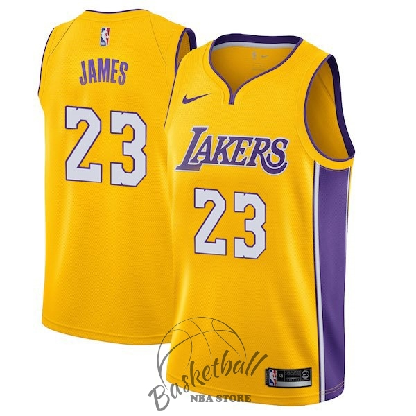 Choisir Maillot NBA Enfant Los Angeles Lakers NO.23 LeBron James Jaune Icon 2017-18