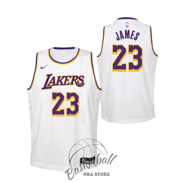 Choisir Maillot NBA Enfant Los Angeles Lakers NO.23 Lebron James Blanc Association 2018-19