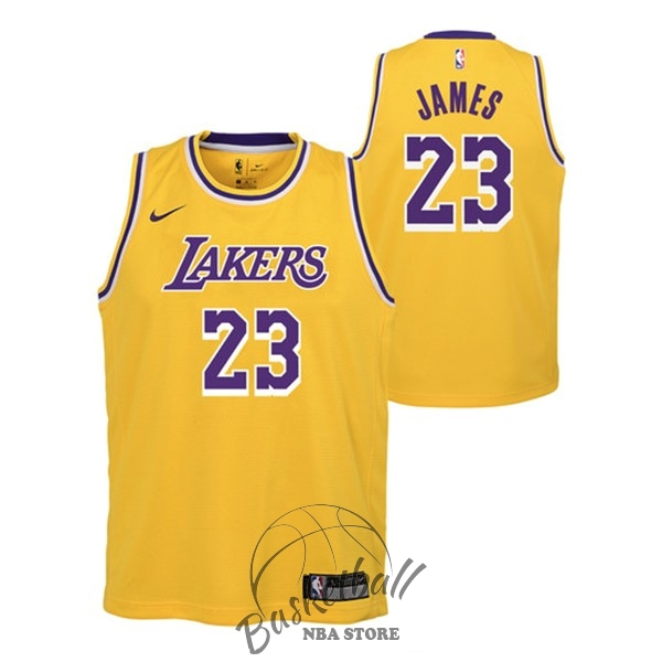 Choisir Maillot NBA Enfant Los Angeles Lakers NO.23 Lebron James Jaune Icon 2018-19