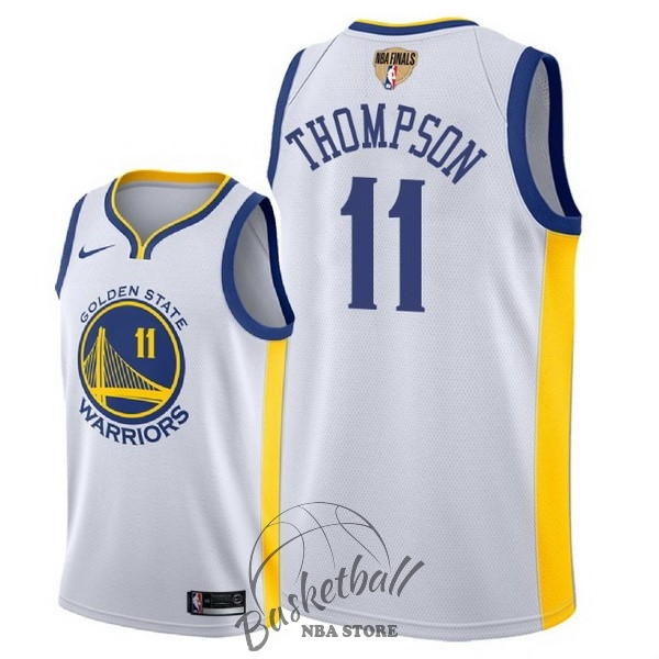 Choisir Maillot NBA Golden State Warriors 2018 Final Champions NO.11 Klay Thompson Blanc