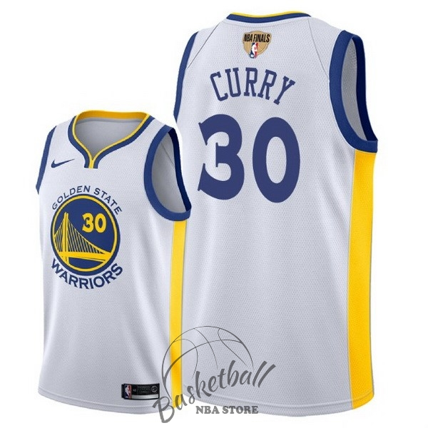 Choisir Maillot NBA Golden State Warriors 2018 Final Champions NO.30 Stephen Curry Blanc