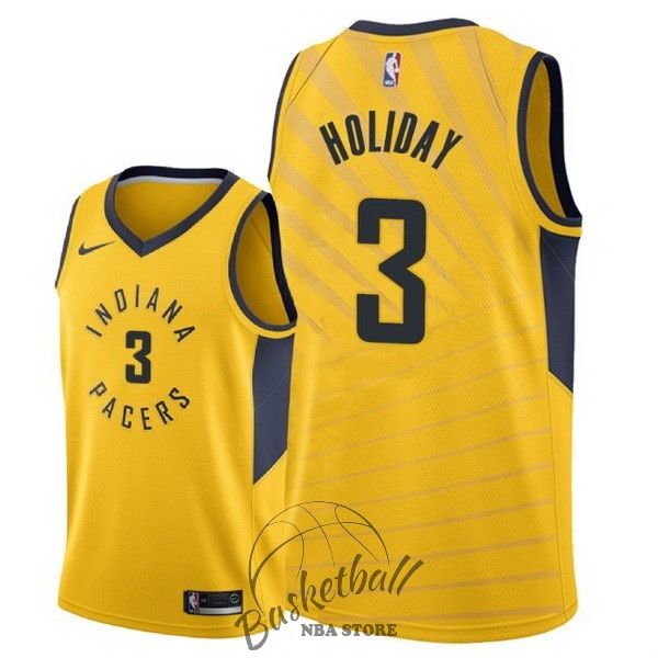Choisir Maillot NBA Nike Indiana Pacers NO.3 Aaron Holiday Jaune Statement 2018