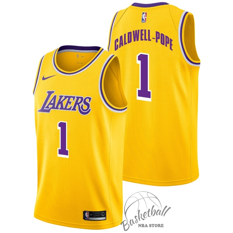 Choisir Maillot NBA Nike Los Angeles Lakers NO.1 Kentavious Caldwell Pope Jaune Icon 2018-19