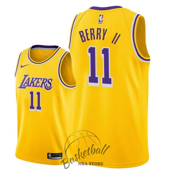 Choisir Maillot NBA Nike Los Angeles Lakers NO.11 Joel Berry II Jaune Icon 2018-19