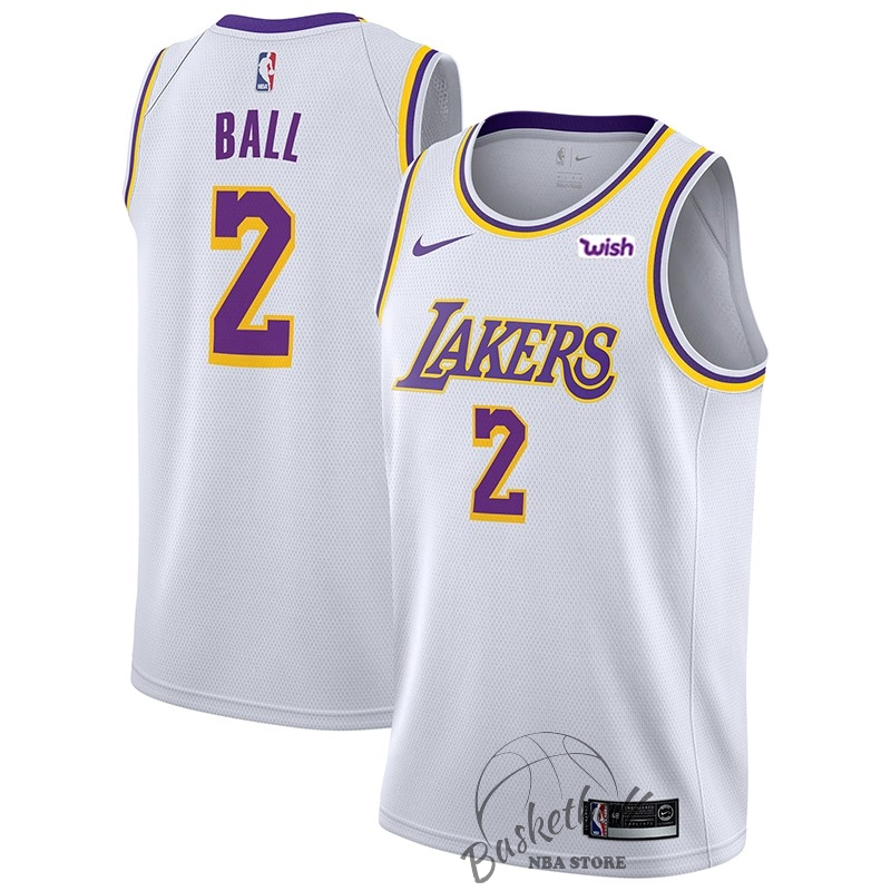 Choisir Maillot NBA Nike Los Angeles Lakers NO.2 Lonzo Ball Blanc 2018-19