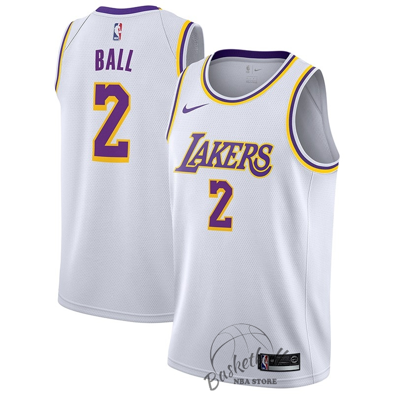 Choisir Maillot NBA Nike Los Angeles Lakers NO.2 Lonzo Ball Blanc Association 2018-19