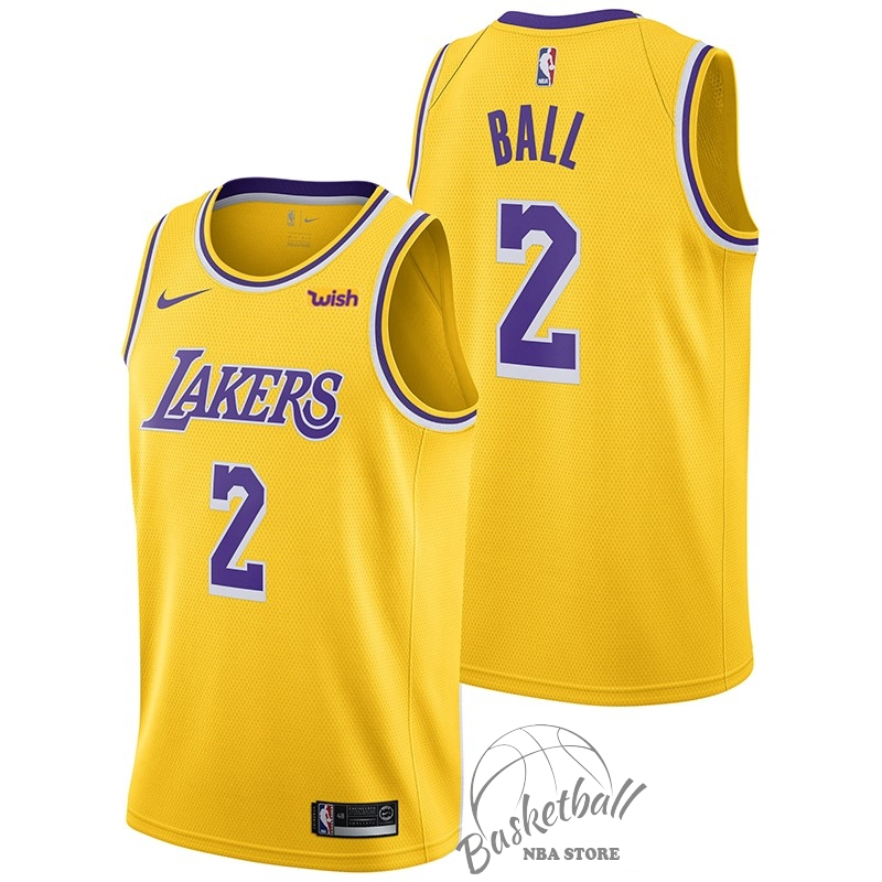 Choisir Maillot NBA Nike Los Angeles Lakers NO.2 Lonzo Ball Jaune 2018-19