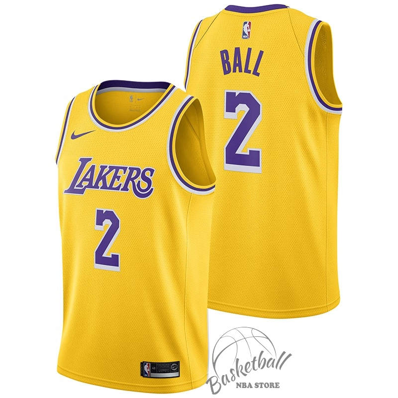 Choisir Maillot NBA Nike Los Angeles Lakers NO.2 Lonzo Ball Jaune Icon 2018-19