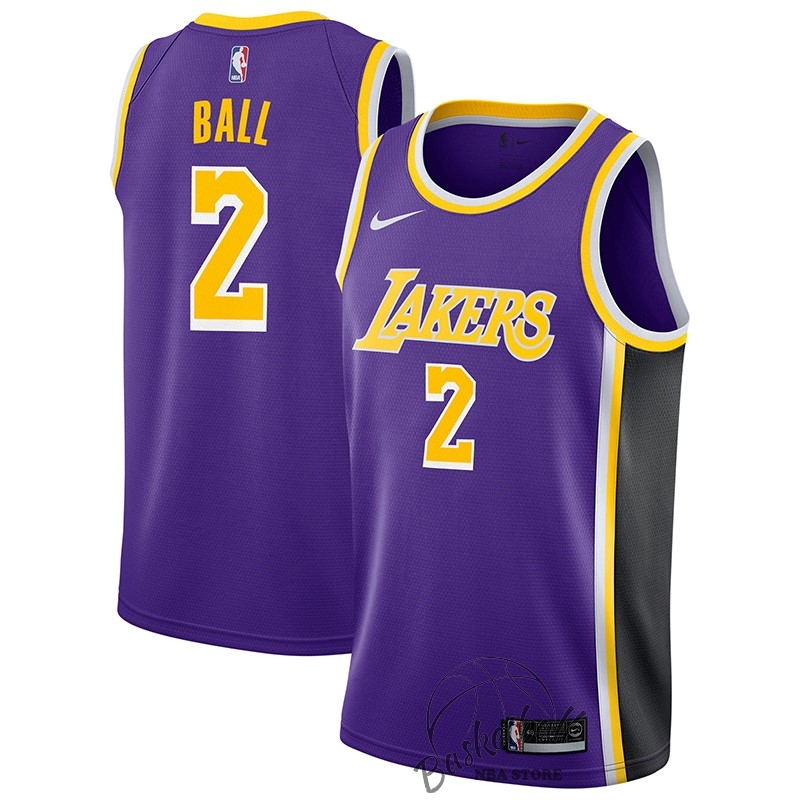 Choisir Maillot NBA Nike Los Angeles Lakers NO.2 Lonzo Ball Pourpre Statement 2018-19
