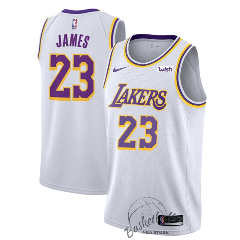Choisir Maillot NBA Nike Los Angeles Lakers NO.23 Lebron James Blanc 2018-19