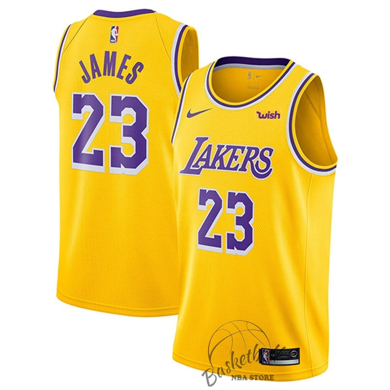 Choisir Maillot NBA Nike Los Angeles Lakers NO.23 Lebron James Jaune 2018-19