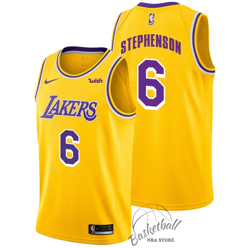 Choisir Maillot NBA Nike Los Angeles Lakers NO.6 Lance Stephenson Jaune 2018-19