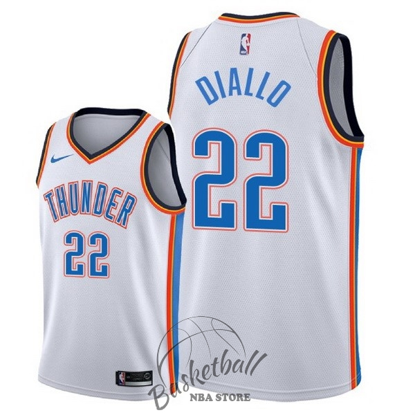 Choisir Maillot NBA Nike Oklahoma City Thunder NO.22 Hamidou Diallo Blanc Association 2018