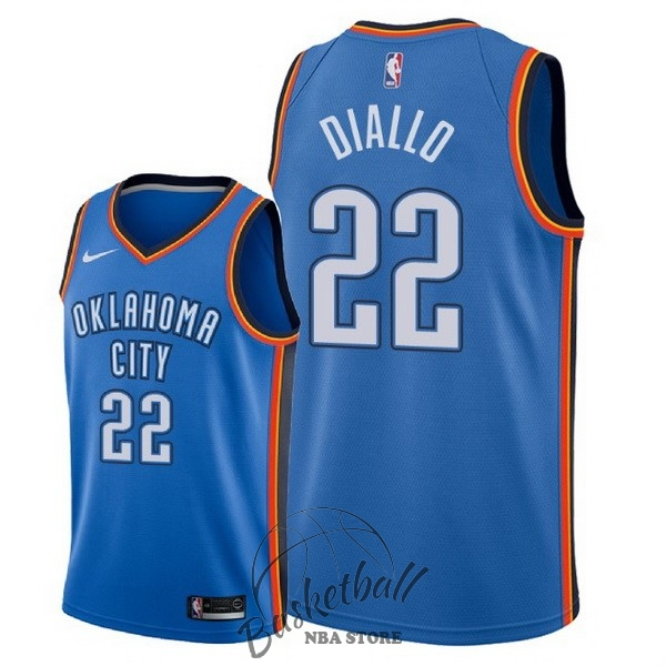 Choisir Maillot NBA Nike Oklahoma City Thunder NO.22 Hamidou Diallo Bleu Icon 2018