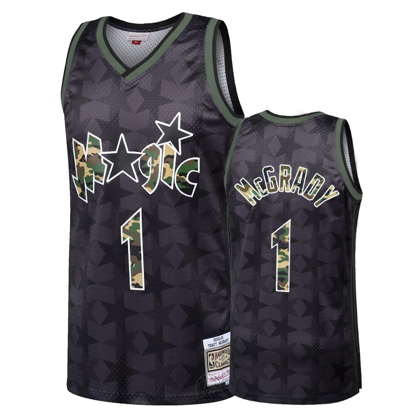 Choisir Maillot NBA Camo Feu Droit Orlando Magic NO.1 Tracy McGrady Noir 2018