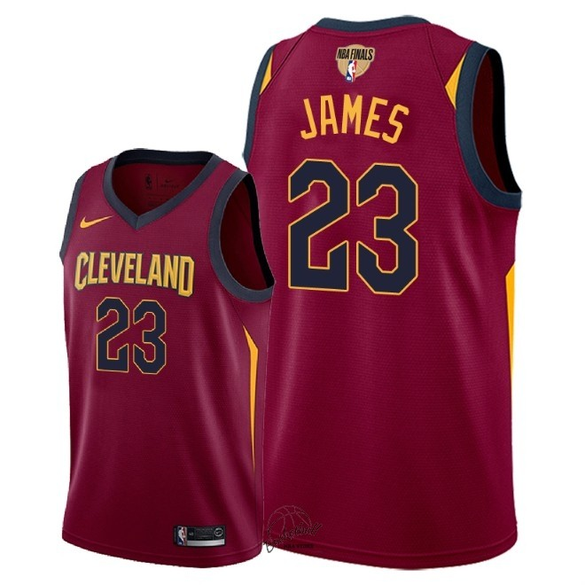 Choisir Maillot NBA Cleveland Cavaliers 2018 Final Champions NO.23 LeBron James Rouge Icon Patch