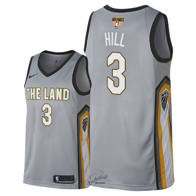 Choisir Maillot NBA Cleveland Cavaliers 2018 Final Champions NO.3 George Hill Nike Gris Ville Patch