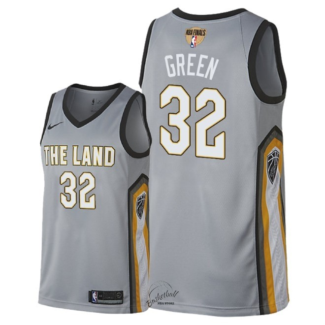 Choisir Maillot NBA Cleveland Cavaliers 2018 Final Champions NO.32 Jeff Green Nike Gris Ville Patch