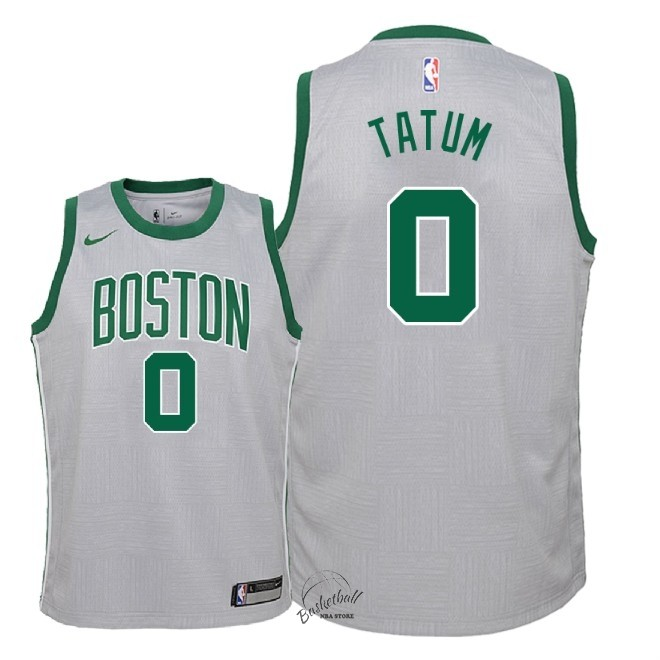 Choisir Maillot NBA Enfant Boston Celtics NO.0 Jayson Tatum Nike Gris Ville 2018