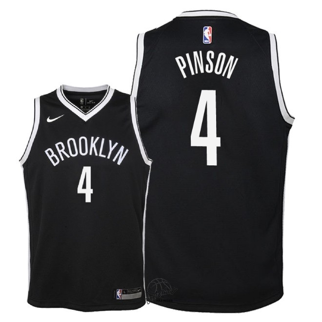 Choisir Maillot NBA Enfant Brooklyn Nets NO.4 Theo Pinson Noir Icon 2018