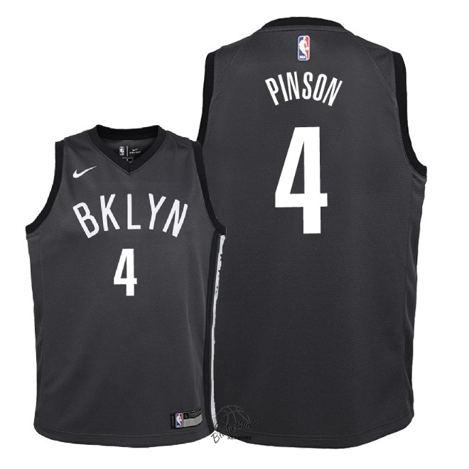 Choisir Maillot NBA Enfant Brooklyn Nets NO.4 Theo Pinson Noir Statement 2018
