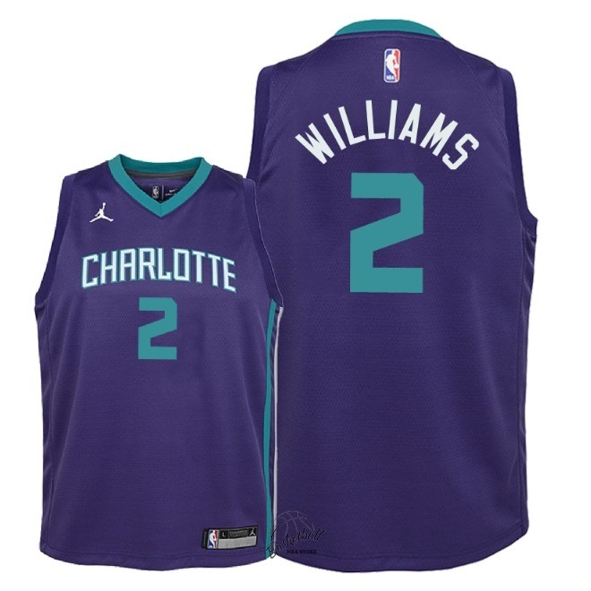 Choisir Maillot NBA Enfant Charlotte Hornets NO.2 Marvin Williams Pourpre Statement 2018