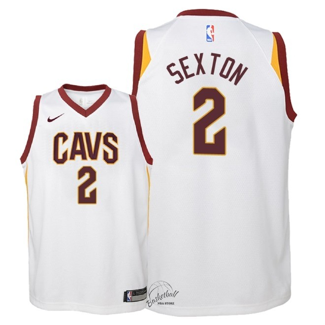 Choisir Maillot NBA Enfant Cleveland Cavaliers NO.2 Collin Sexton Blanc Association 2018