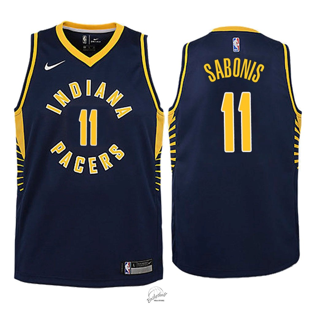 Choisir Maillot NBA Enfant Indiana Pacers NO.11 Domantas Sabonis Marine Icon 2018