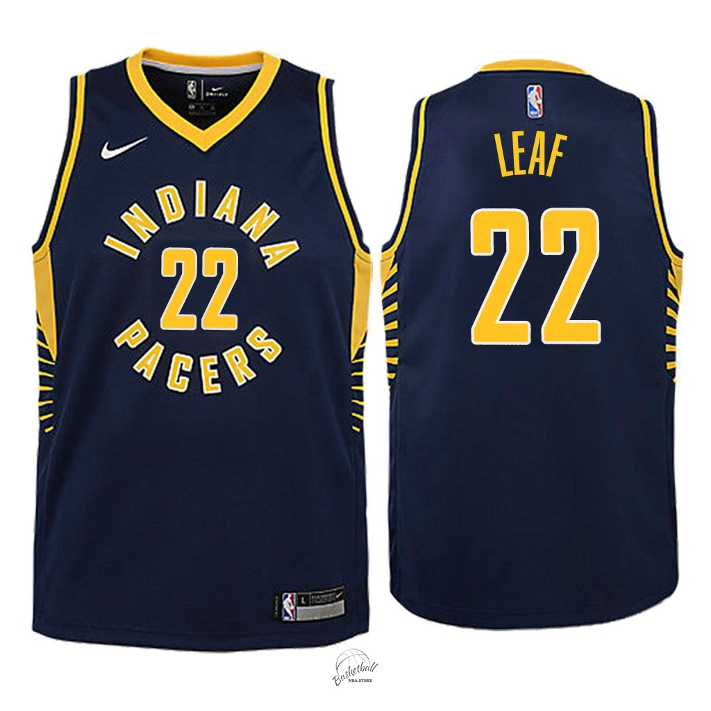 Choisir Maillot NBA Enfant Indiana Pacers NO.22 T.J. Leaf Marine Icon 2018