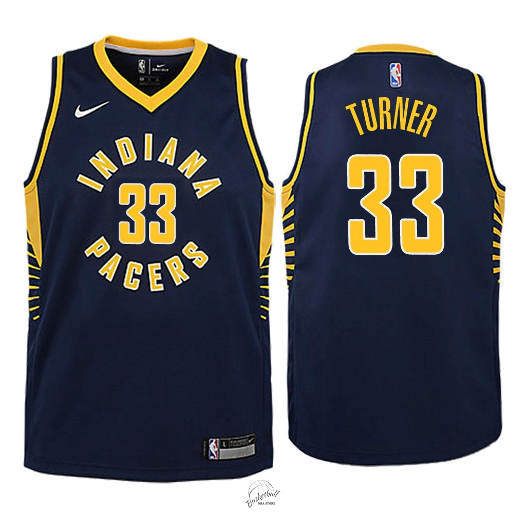 Choisir Maillot NBA Enfant Indiana Pacers NO.33 Myles Turner Marine Icon 2018