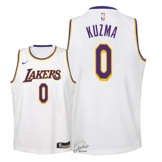 Choisir Maillot NBA Enfant Los Angeles Lakers NO.0 Kyle Kuzma Blanc Association 2018-19