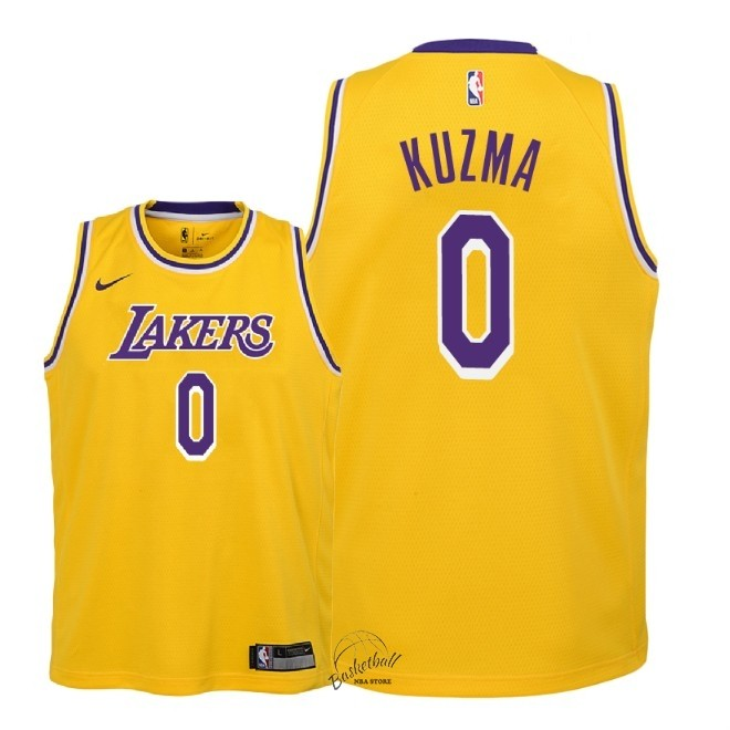 Choisir Maillot NBA Enfant Los Angeles Lakers NO.0 Kyle Kuzma Jaune Icon 2018-19