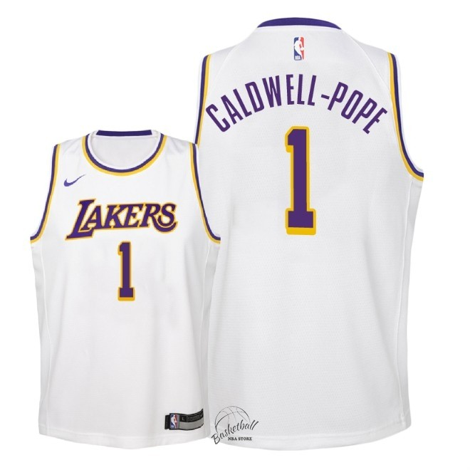Choisir Maillot NBA Enfant Los Angeles Lakers NO.1 Kentavious Caldwell Pope Blanc Association 2018-19