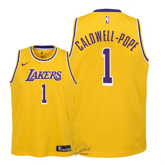 Choisir Maillot NBA Enfant Los Angeles Lakers NO.1 Kentavious Caldwell Pope Jaune Icon 2018-19