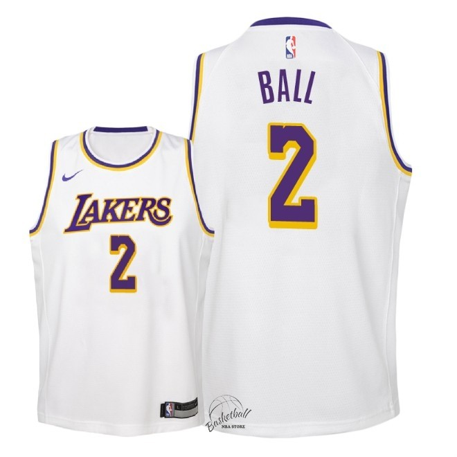 Choisir Maillot NBA Enfant Los Angeles Lakers NO.2 Lonzo Ball Blanc Association 2018-19
