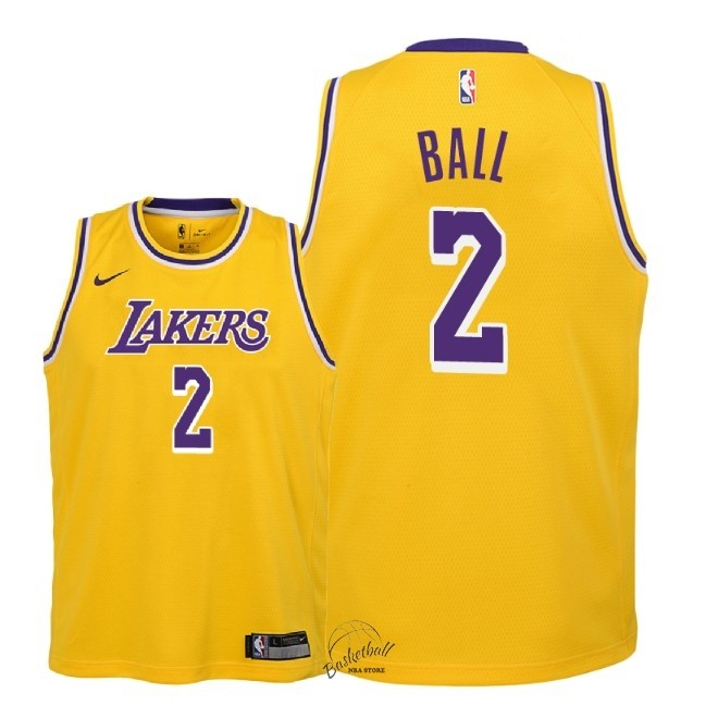Choisir Maillot NBA Enfant Los Angeles Lakers NO.2 Lonzo Ball Jaune Icon 2018-19