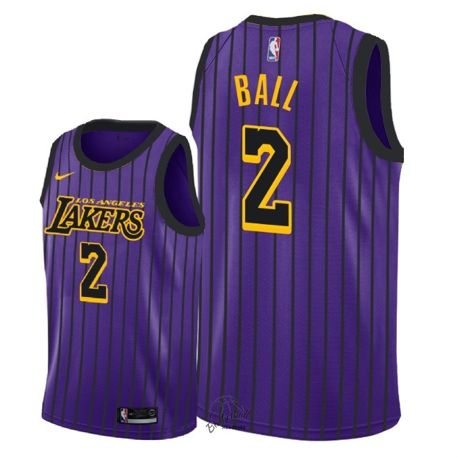 Choisir Maillot NBA Enfant Los Angeles Lakers NO.2 Lonzo Ball Nike Pourpre Ville 2018-19