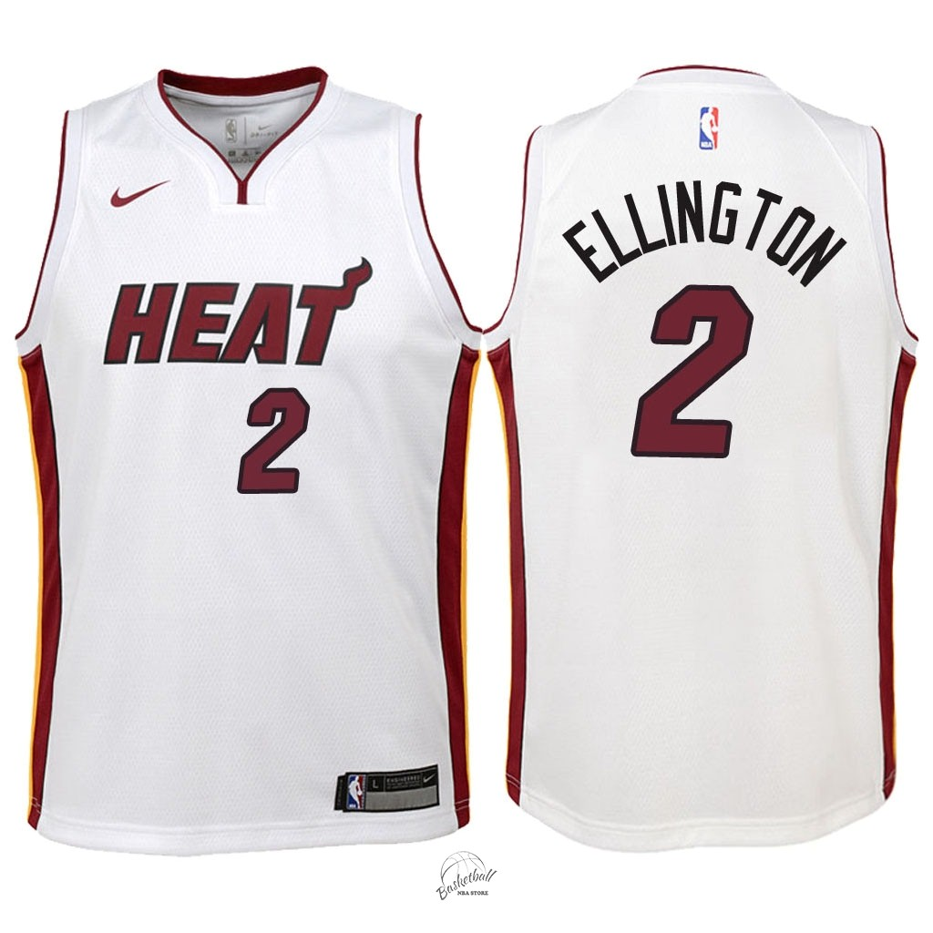 Choisir Maillot NBA Enfant Miami Heat NO.2 Wayne Ellington Blanc Association 2018