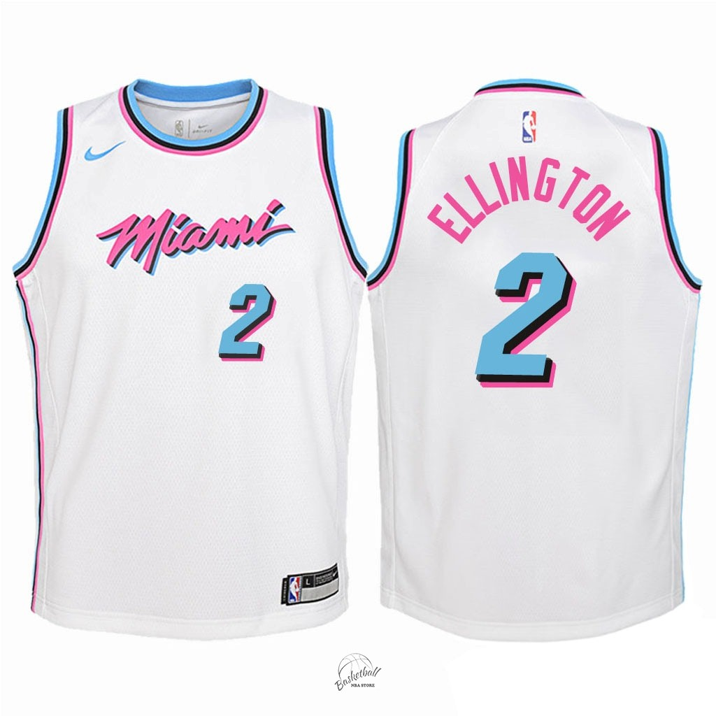 Choisir Maillot NBA Enfant Miami Heat NO.2 Wayne Ellington Nike Blanc Ville 2018