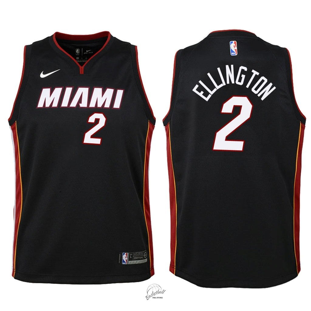 Choisir Maillot NBA Enfant Miami Heat NO.2 Wayne Ellington Noir Icon 2018