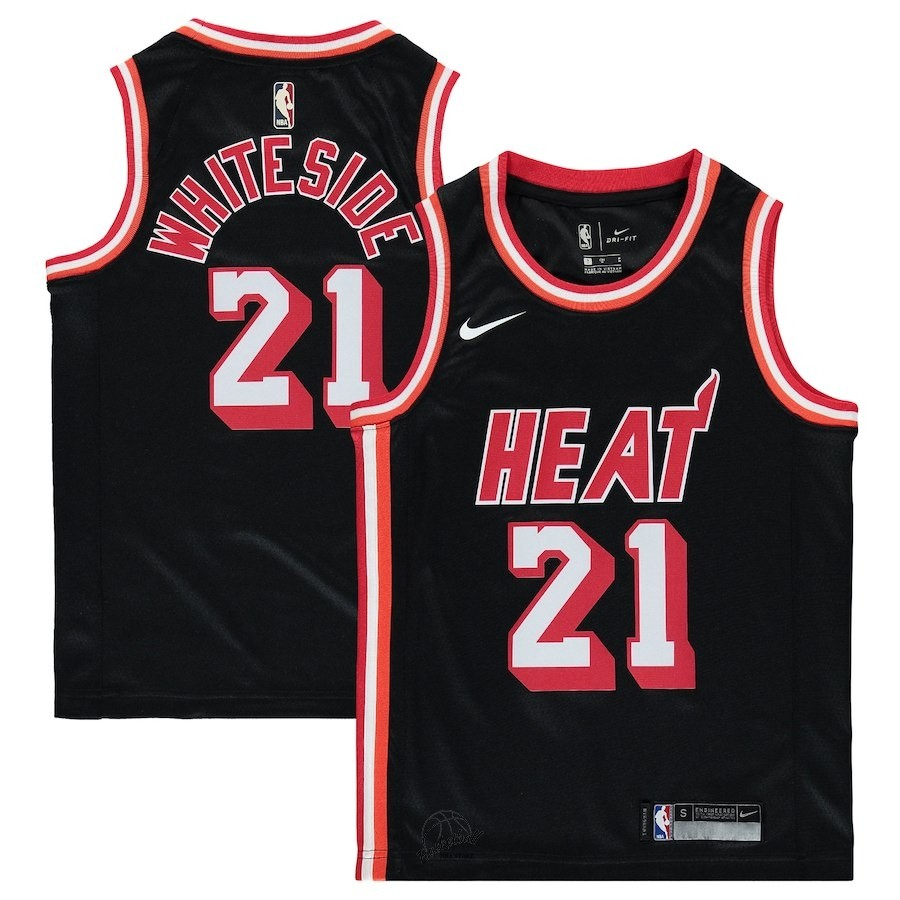 19ed7c9d3913 Choisir Maillot NBA Enfant Miami Heat NO.21 Hassan Whiteside Nike Retro  Noir 2018