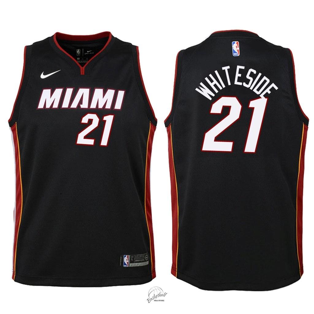 c8d0410d5991 Choisir Maillot NBA Enfant Miami Heat NO.21 Hassan Whiteside Noir Icon 2018