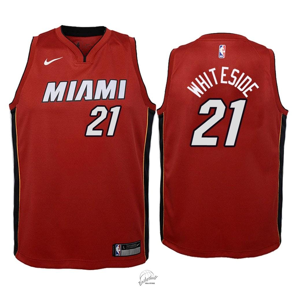 e928b2e7eb4fd Choisir Maillot NBA Enfant Miami Heat NO.21 Hassan Whiteside Rouge  Statement 2018