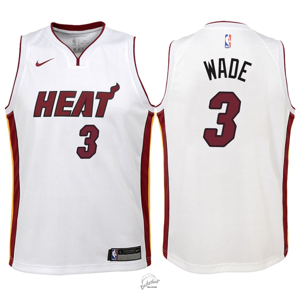 Choisir Maillot NBA Enfant Miami Heat NO.3 Dwyane Wade Blanc Association 2018