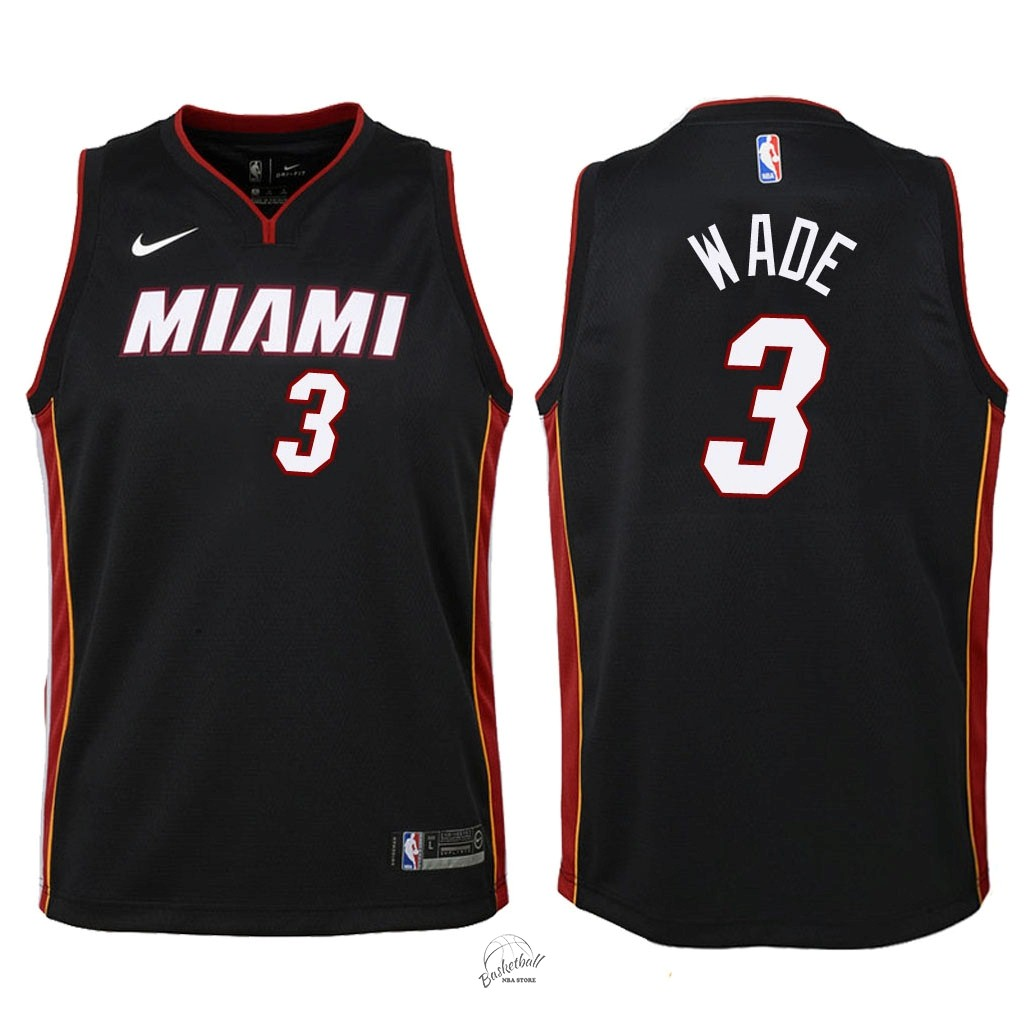 Choisir Maillot NBA Enfant Miami Heat NO.3 Dwyane Wade Noir Icon 2018