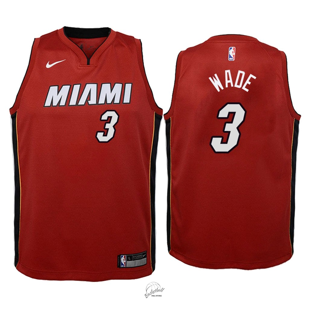 Choisir Maillot NBA Enfant Miami Heat NO.3 Dwyane Wade Rouge Statement 2018