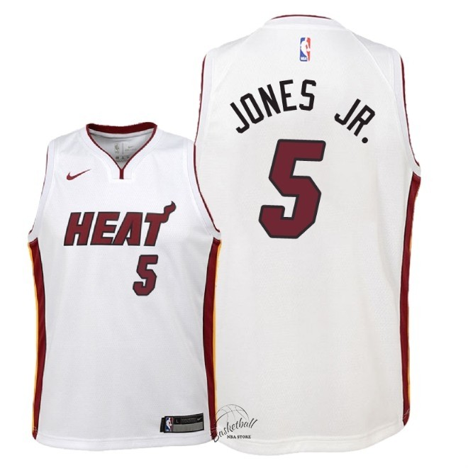 Choisir Maillot NBA Enfant Miami Heat NO.5 Derrick Jones Jr Blanc Association 2018