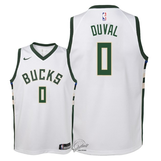 Choisir Maillot NBA Enfant Milwaukee Bucks NO.0 Trevon Duval Blanc Association 2018-19